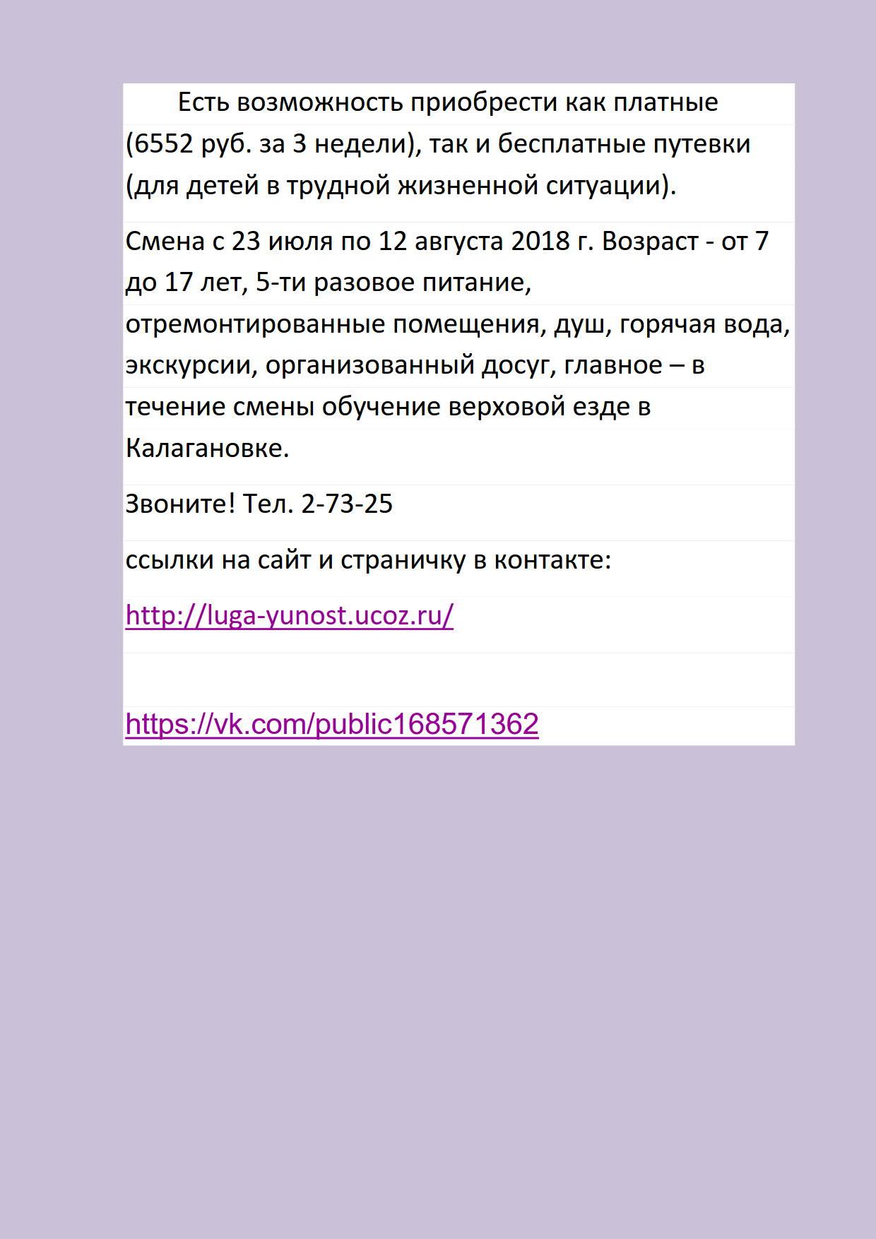 Информация о детском отдыхе в лагере Юность_2